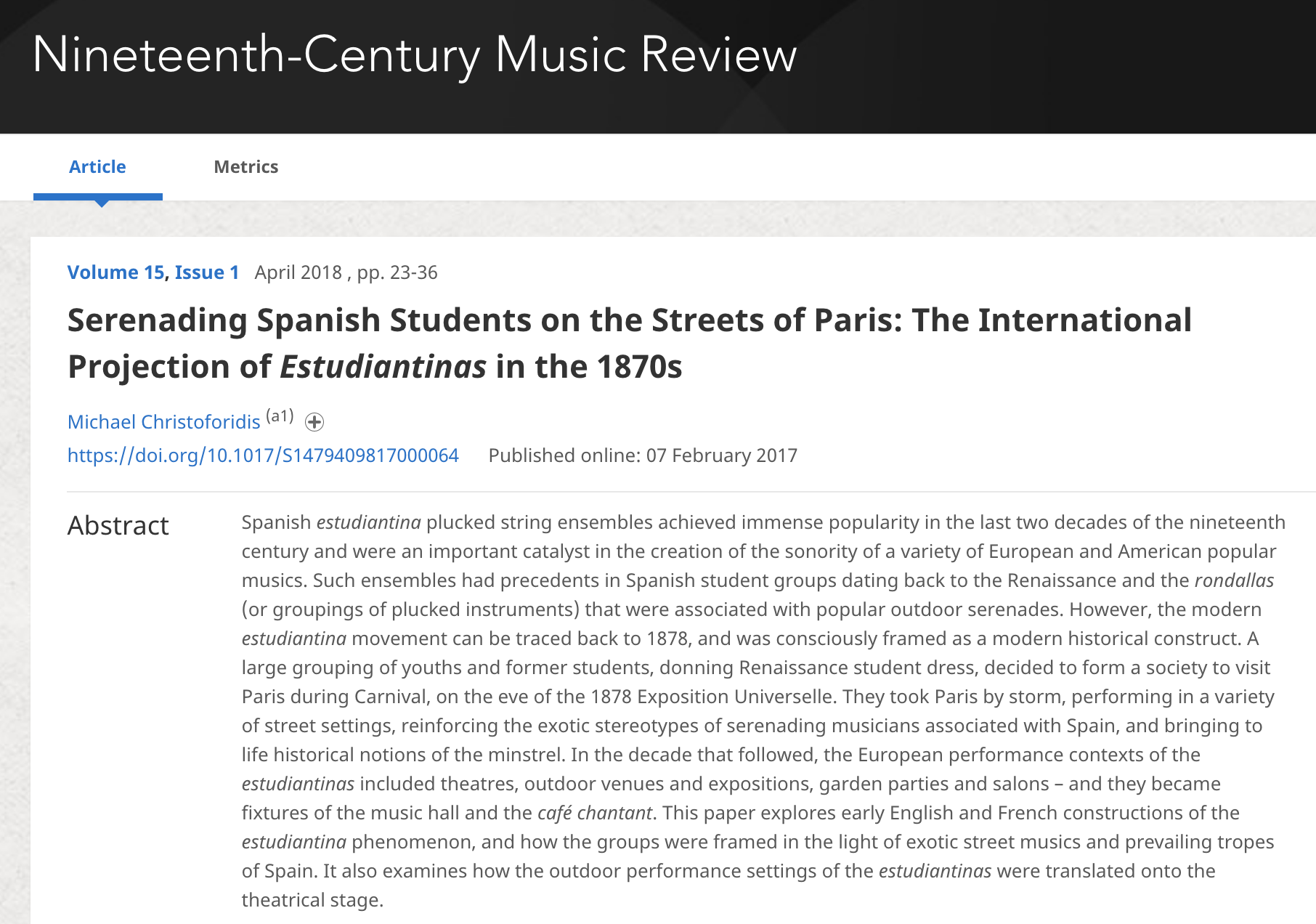 2017 - Michael Christoforidis.Serenading Spanish Students on the Streets of Paris. The International Projection of Estudiantinas in the 1870s  1